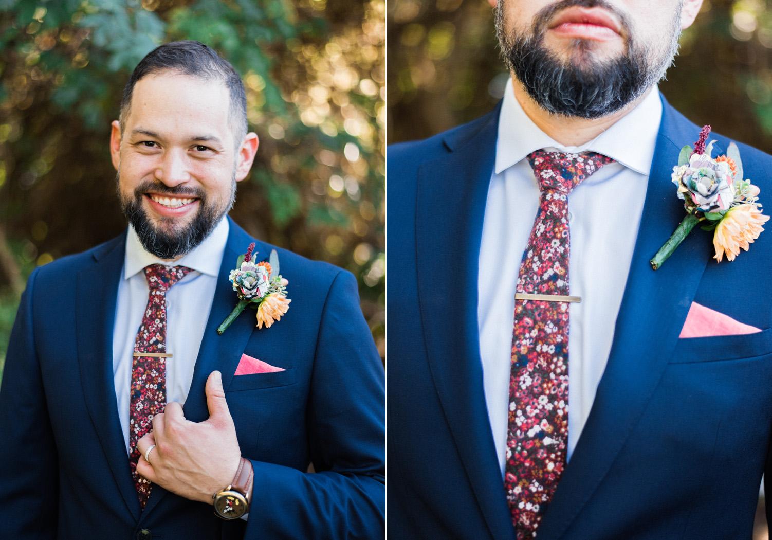 Seattle Wedding Photography Groom Wardrobe Floral Skinny Tie.jpg