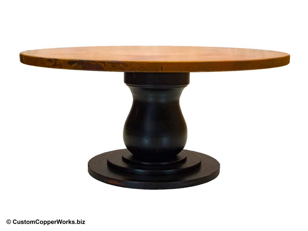 Hammered Copper Top Dining Table - 54″ round -- Anna Distressed Wood Single Pedestal Table Base-1