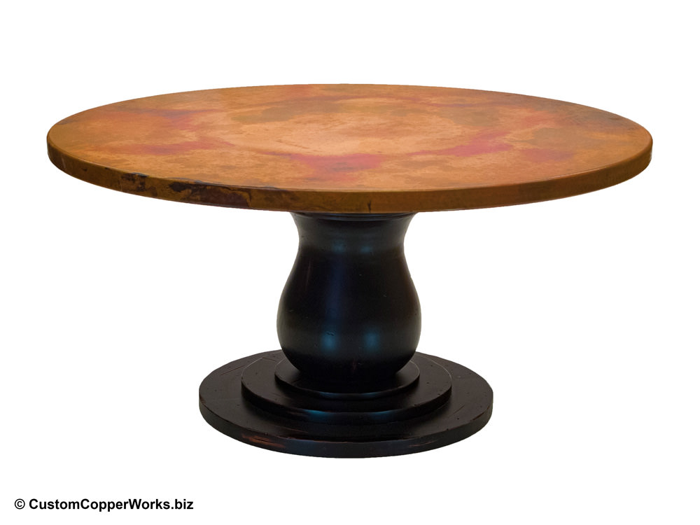 Hammered Copper Top Round Dining Table, Copper Top Round Table