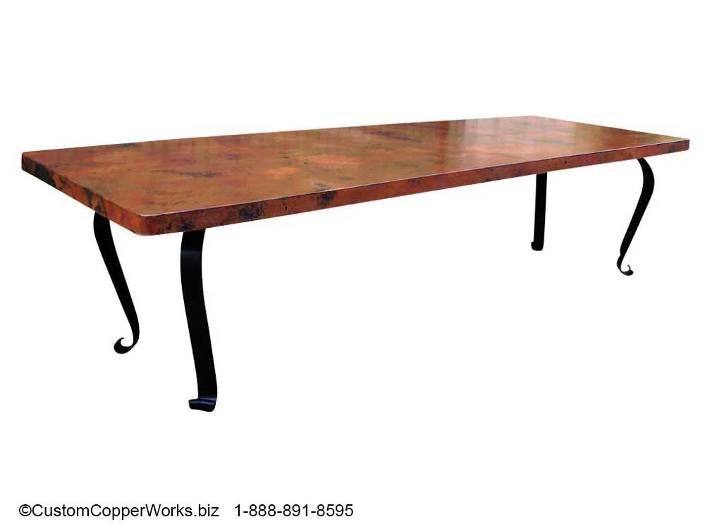 "COPPER TOP RECTANGLE DINING TABLE: 125"" x 44"" x 2.5"" Copper top table mounted on the Lorena hand-forged, wrought iron table base."