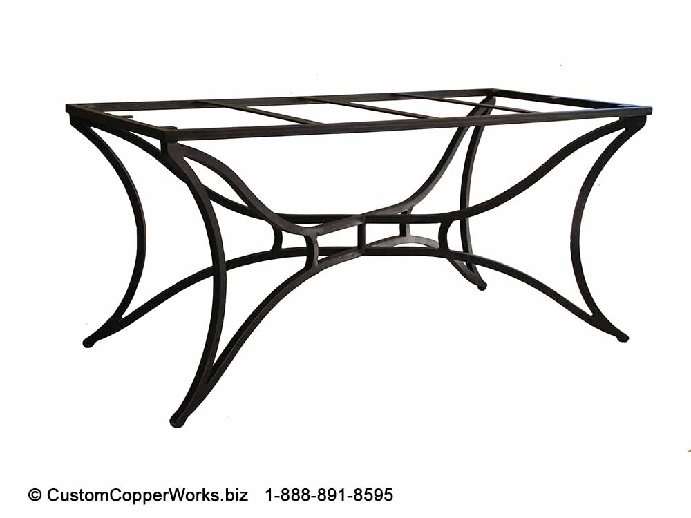 OVAL, COPPER TOP DINING TABLE: copper table top mounted on the  Marita  hand-forged-iron table base-2