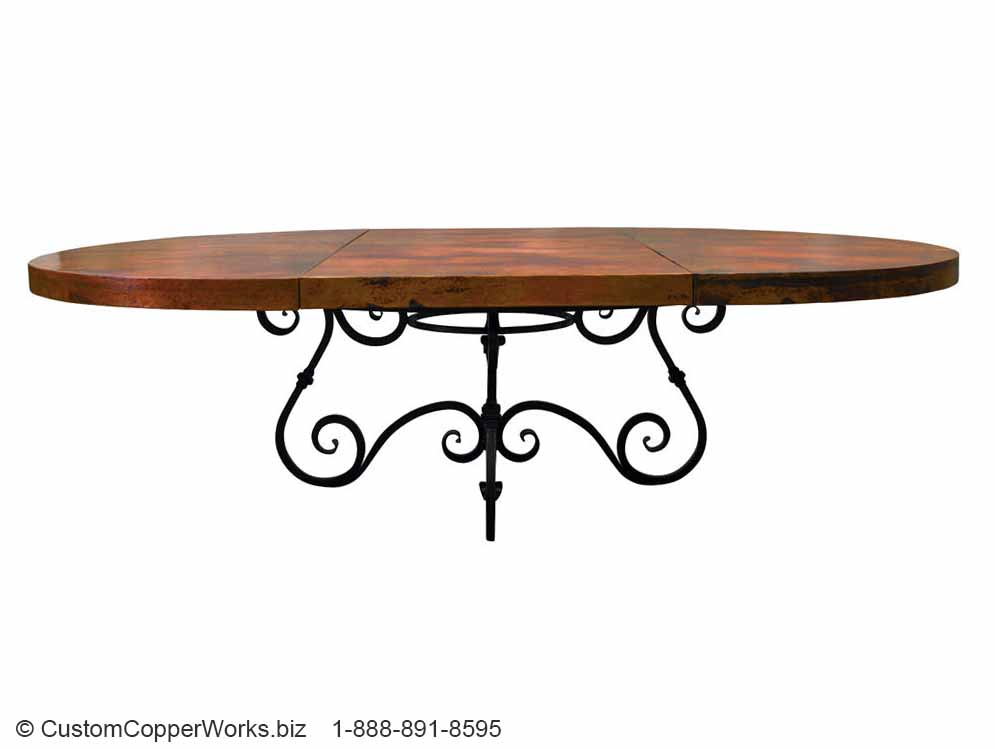 1.  Hand-hammered, Round Extendable Copper Top Dining Table; 72 inch diameter;  Canela , Forged Iron Table Base