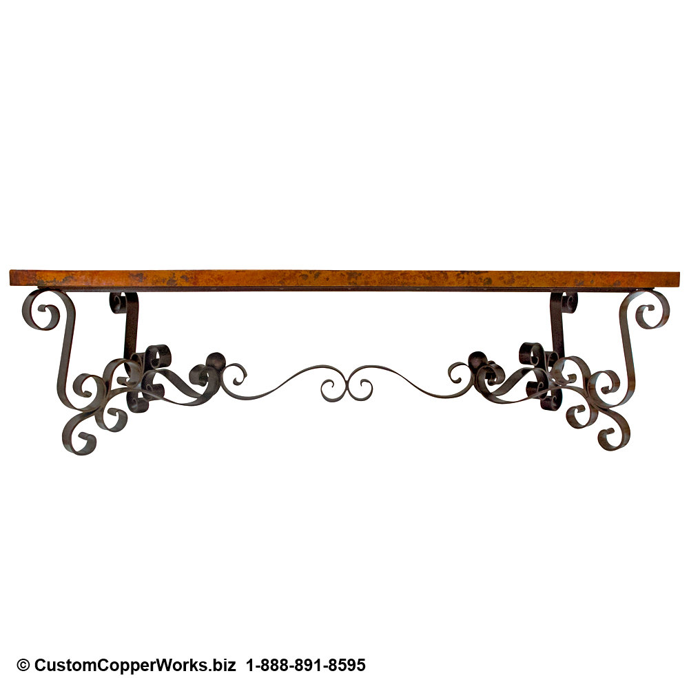 """1. Rectangle, hand-hammered, Copper Table Top; 105"""" x 52"""" x 3"""". Spanish Colonial curled forged-iron table base with matching Copper Table Top console table; end tables; coffee table."""