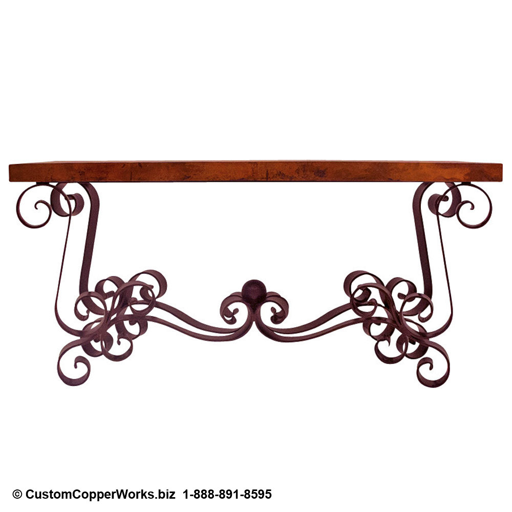 Copper Table Top Console Table / Forged Iron Table Base