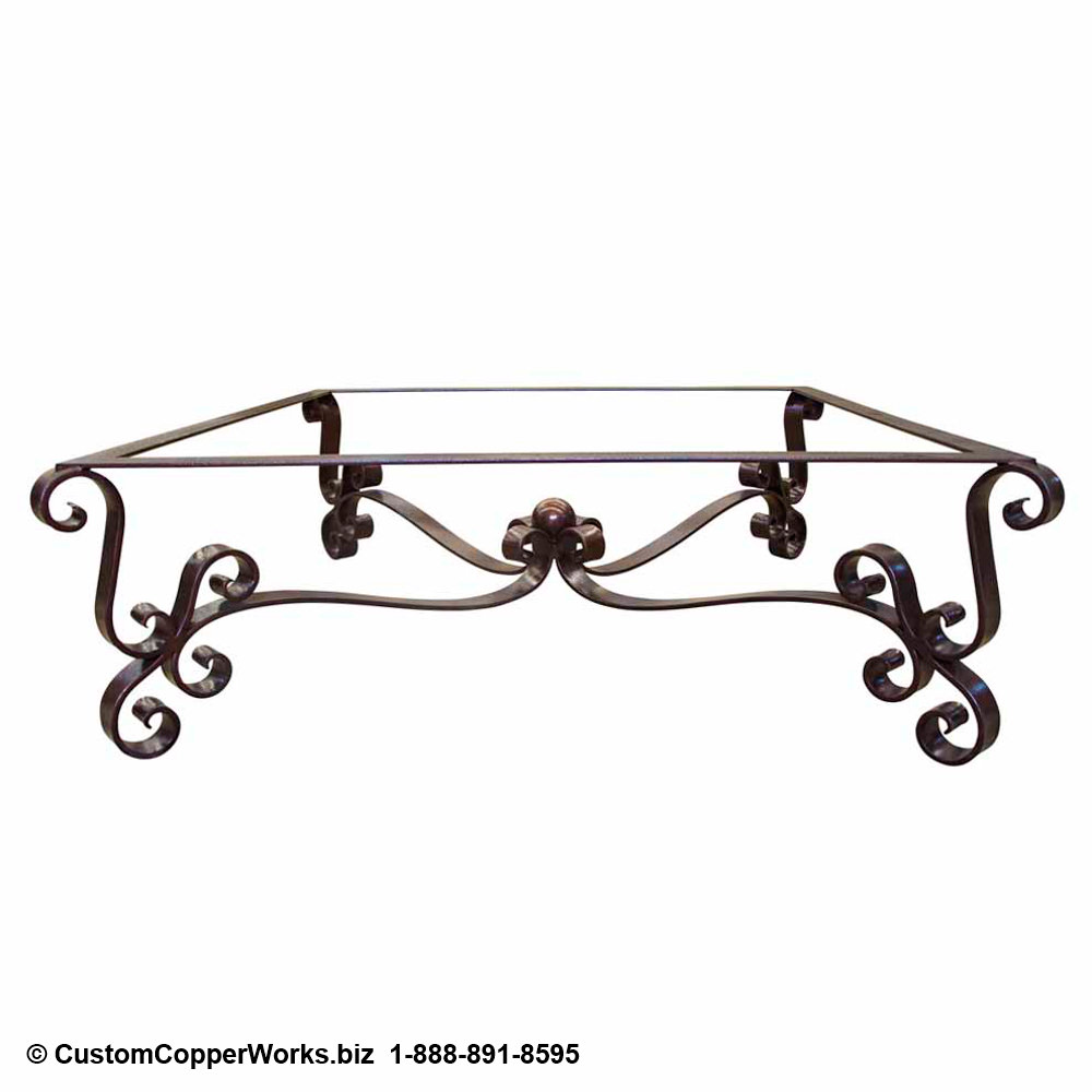 Copper Top Coffee Table Forged-iron Table Base