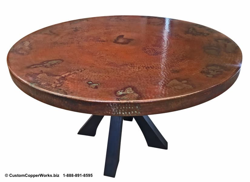 Copper Top Round Table mounted on Soft Industrial Chic Style, Forged-iron Table Base: 52 inch round, 2.5 inch side drop - 2