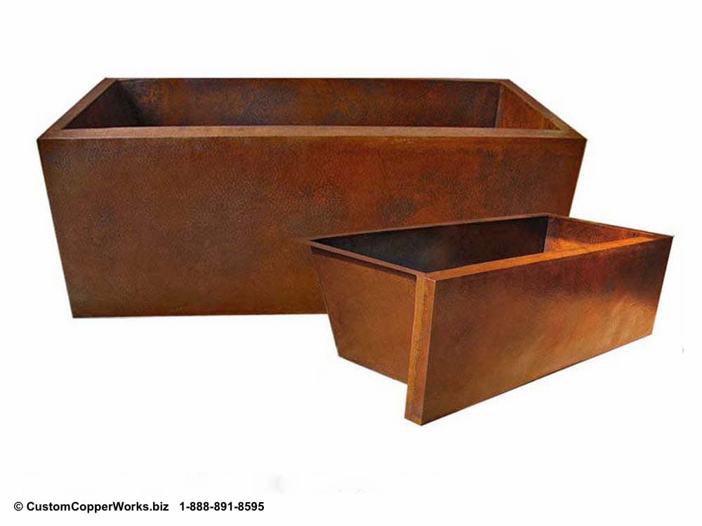 Hammered Copper Faux Double Wall, Alcove Bathtub. ccw design # 28