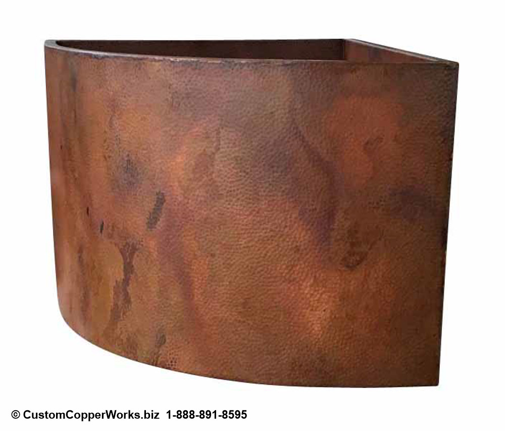 """Custom Copper Double Wall Japanese Soaking Tub: 42"""" x 48"""" x 34"""" Corner Mount with second removable bench. CLICK ON IMAGE FOR LARGER VIEW. CCW DESIGN #95."""