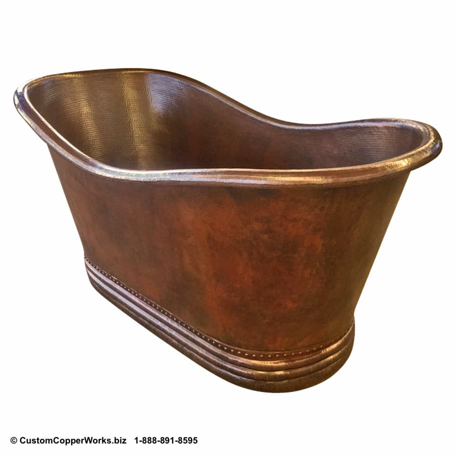 FREE STANDING, COPPER SOAKING TUB: Hand-hammered, Mexican Copper Double Slipper Tub. ccw design #96