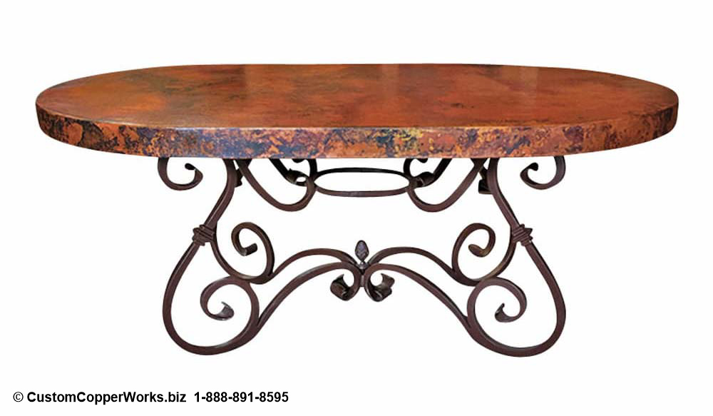 OVAL, Hacienda Style COPPER TOP DINING TABLE mounted on Scrolled, Forged Iron Table Base.