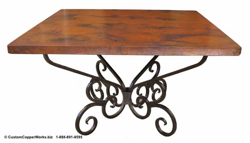 COPPER TOP SQUARE DINING TABLE, SCROLLED FORGED IRON TABLE BASE-1
