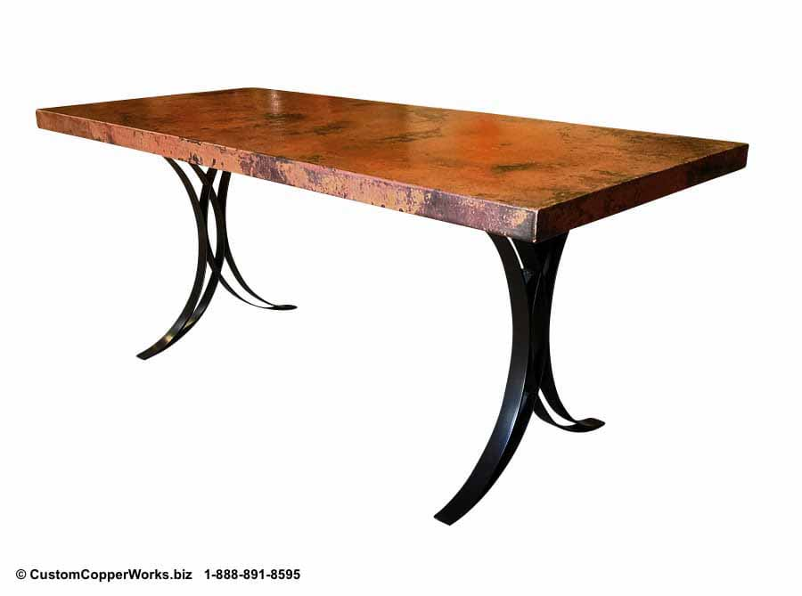 COPPER TOP RECTANGLE DINING TABLE | FLARED FLAT IRON TABLE BASE -1