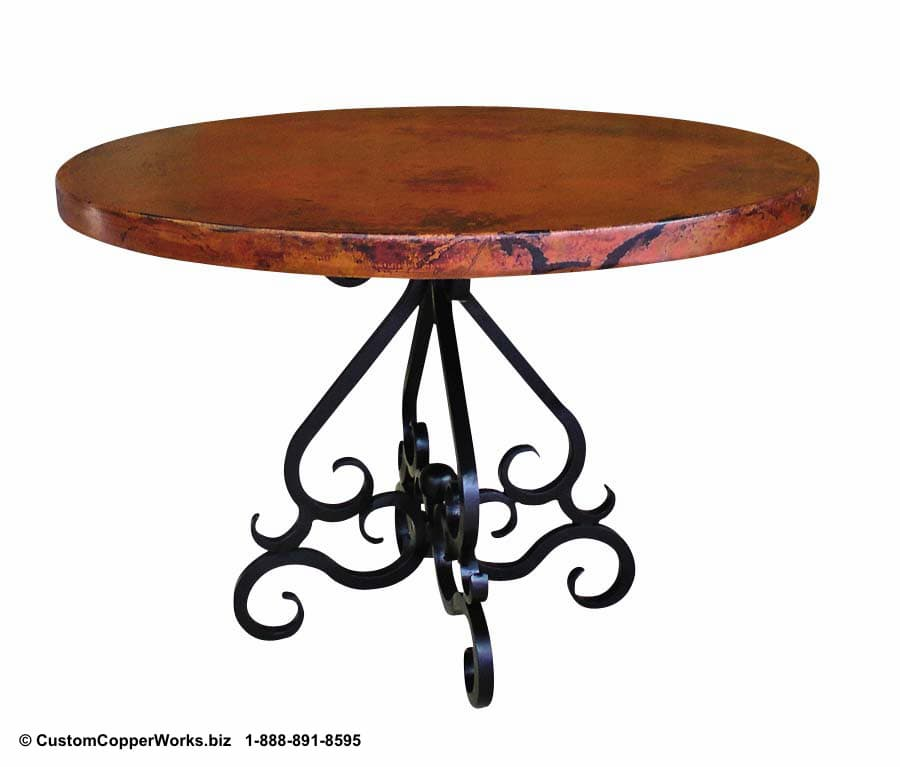 """ROUND, COPPER DINING TABLE: 44"""" round copper table top, scrolled, powder coated, forged iron table base."""