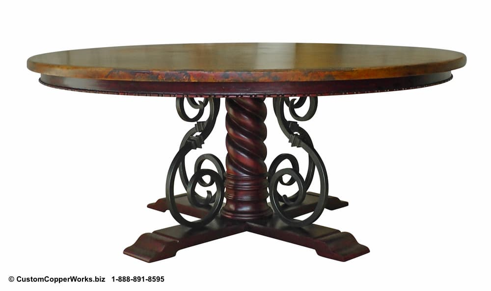 Copper Top Round Table Top Mounted on Wood, Forged-Iron, Pedestal Mia Table Base -1