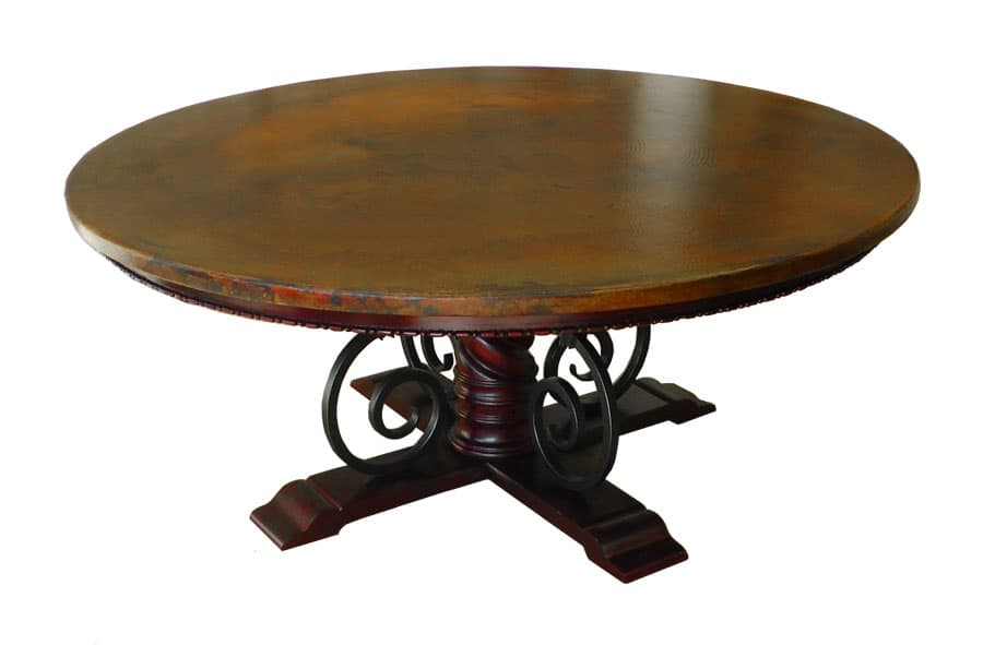 Copper Top Round Table Top Mounted on Wood, Forged-Iron, Pedestal Mia Table Base -2