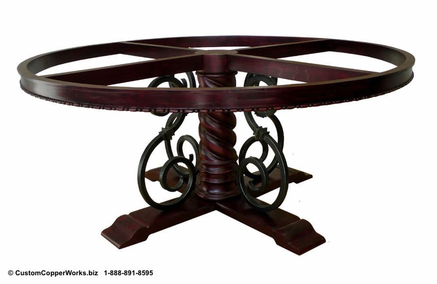 Copper Top Round Table Top Mounted on Wood, Forged-Iron, Pedestal Mia Table Base -5