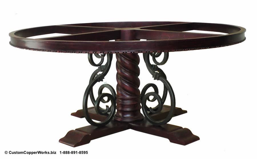 Copper Top Round Table Top Mounted on Wood, Forged-Iron, Pedestal Mia Table Base -4