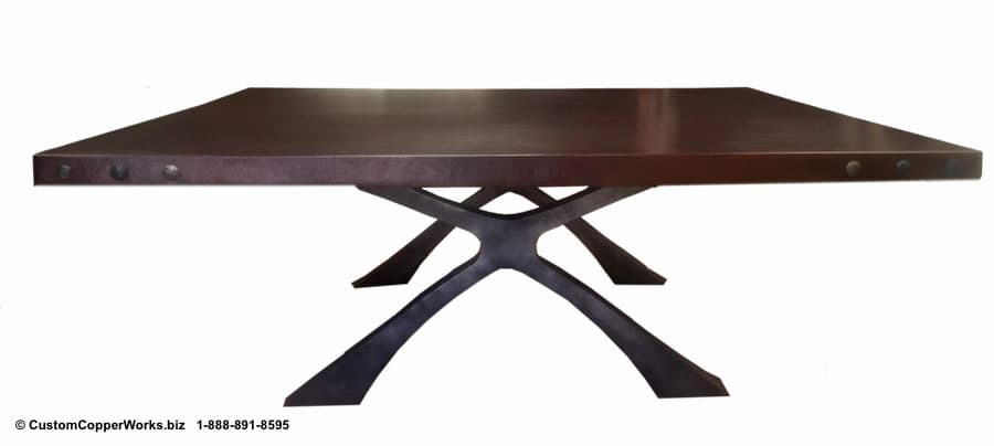 COPPER TOP SQUARE DINING TABLE MOUNTED ON SOFT INDUSTRIAL CHIC FLAT IRON TABLE BASE