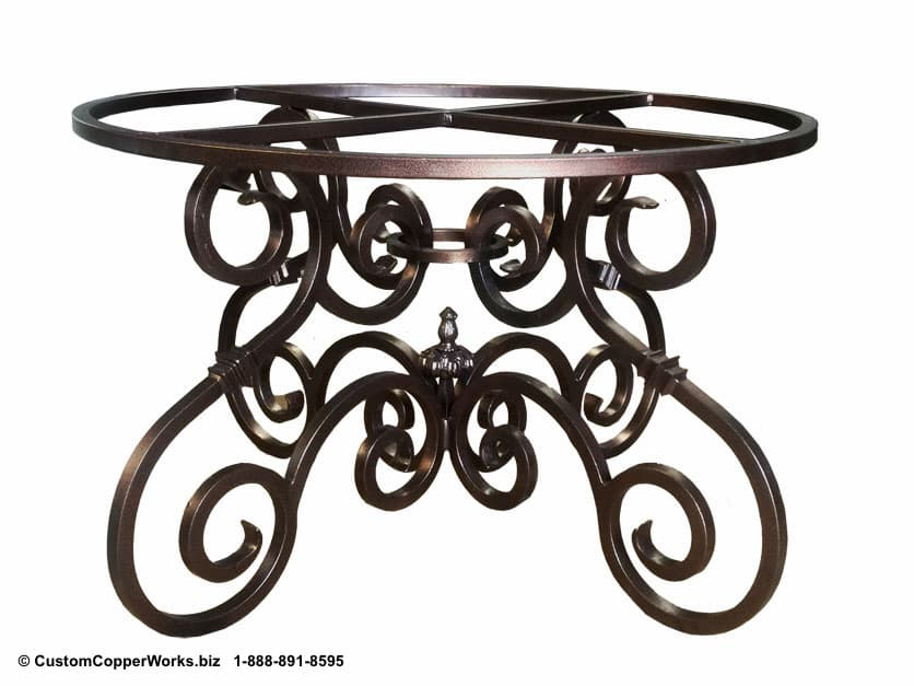 """COPPER DINING TABLE: 66"""" round copper table top mounted on hand-forged, French curl,  Canela  iron table base-3"""