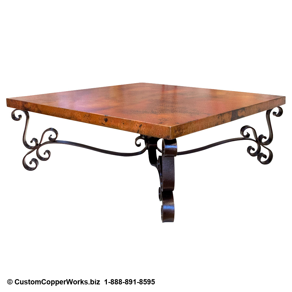 Copper Coffee Table /Forged-iron table base - View 2