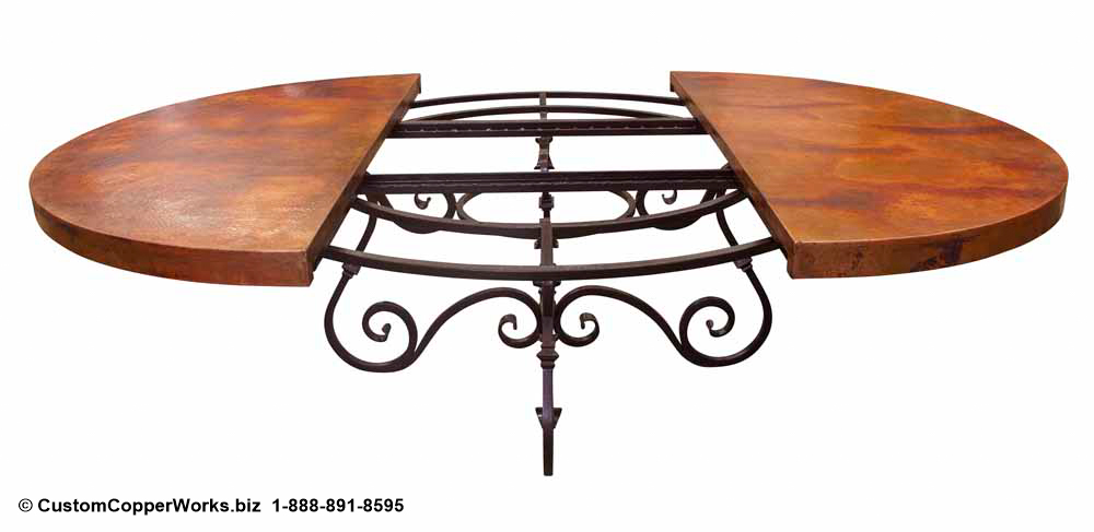2.  Hand-hammered, Round Extendable Copper Top Dining Table; 72 inch diameter;  Canela , Forged Iron Table Base