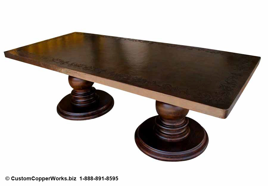 """Hammered copper top table - 106"""" x 48"""", dark brown   copper patina, hand-embossing, double pedestal base-4"""