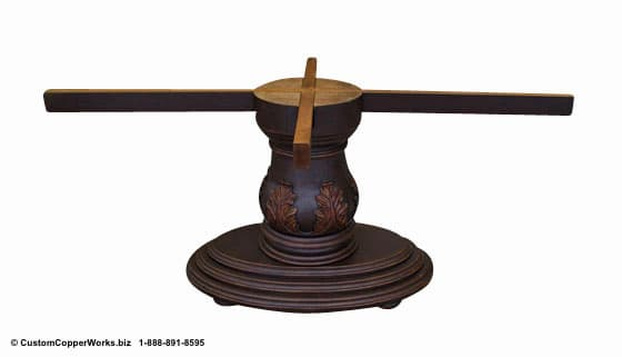 """Copper oval table - 78"""" x 48. Single wood pedestal, distressed table base, wood apron, hand-carving accent-5"""