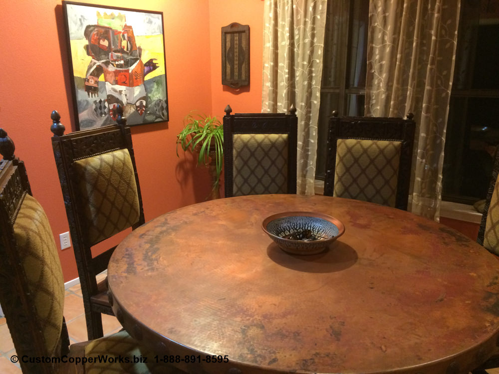 """COPPER TOP TABLE - Round, Spanish, Hacienda Style 60"""" diameter with 3"""" side drop mounted on Oak,Wood, Single Pedestal Copper Table Base. Concha adornment-2"""