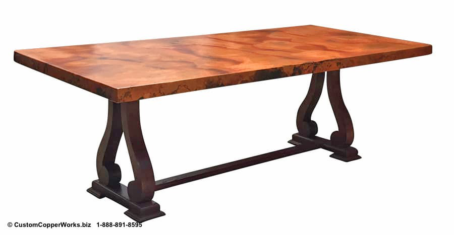 "Copper Top Dining Table - 84"" x 44"" x 2.5"" mounted on the  Raquel  Oak Trestle Table Base."
