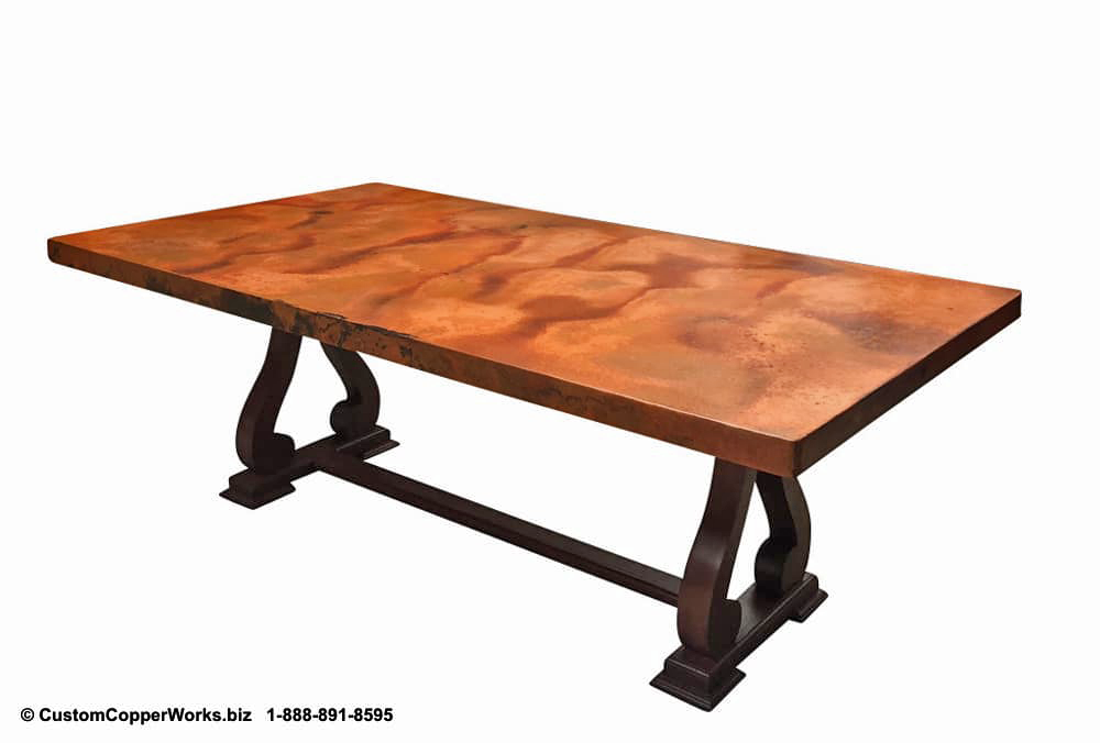 "Copper Top Dining Table - 84"" x 44"" x 2.5""  mounted on the Raquel Oak Trestle Table Base-3"