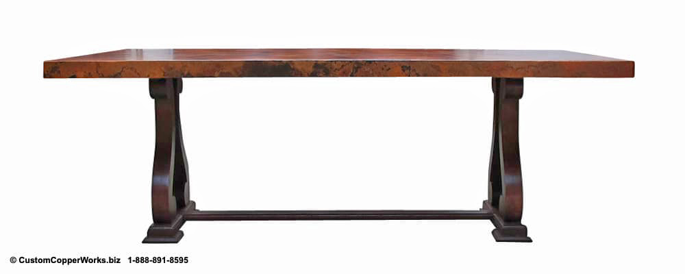 "Copper Top Dining Table - 84"" x 44"" x 2.5""  mounted on the Raquel Oak Trestle Table Base-4"