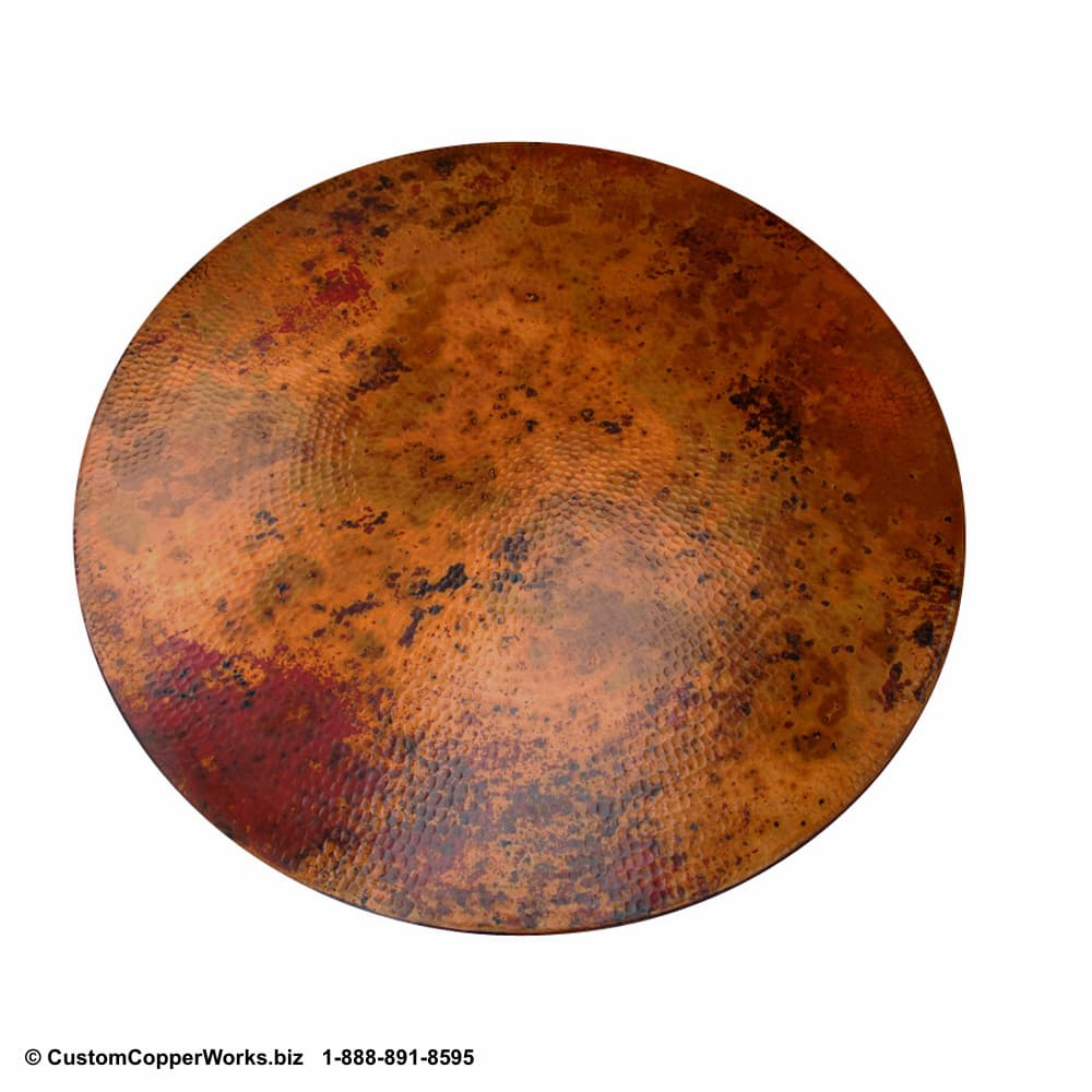 """30"""" Lazy Susan with complimentary copper patina."""
