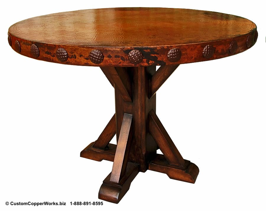 Hammered, Copper Top Dining Table Mounted on  Carlota  Oak, Pedestal Table Base with Decorative Conchas