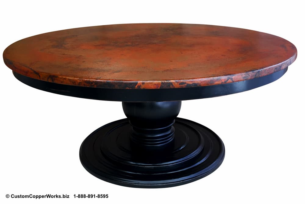 "COPPER DINING TABLE: Hammered, 72"" Round Copper Top Dining Table Overlaid on Wood, Pedestal Table Base with Apron."