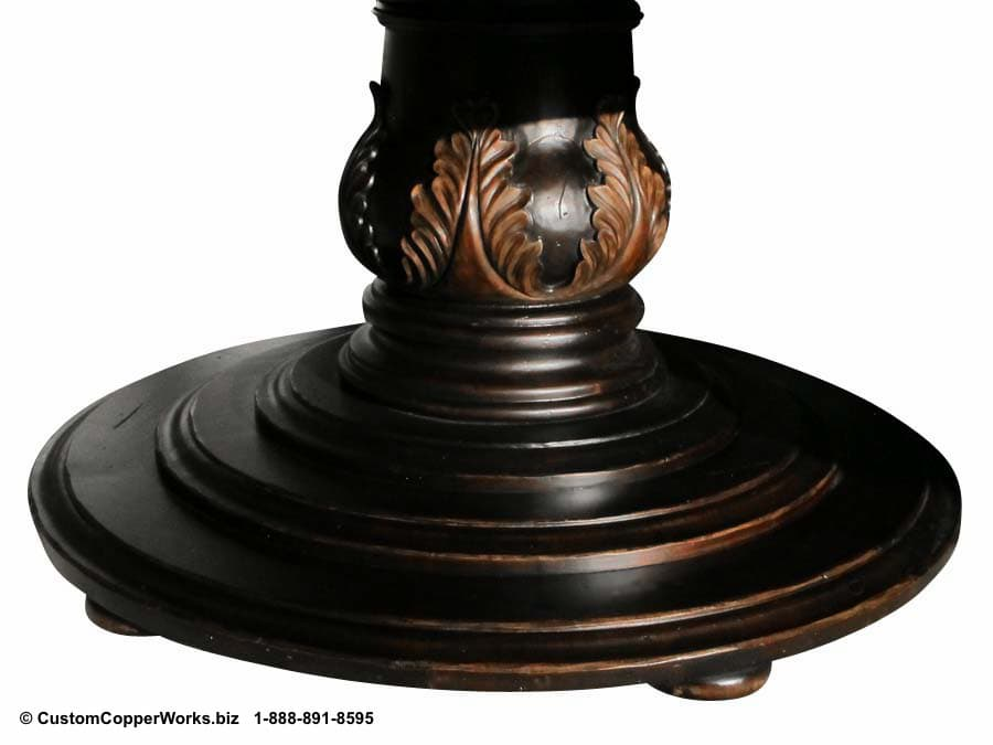 """COPPER TOP DINING TABLE: Hammered, 72"""" Round Copper Top Table Overlaid on Wood Side Drop Apron, Single Pedestal Table Base with Hand Carved Design - 4"""