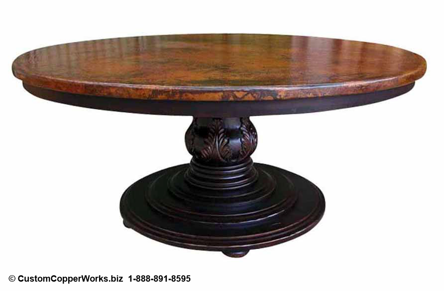 """COPPER TOP DINING TABLE: Hammered, 72"""" Round Copper Top Table Overlaid on Wood Side Drop Apron, Single Pedestal Table Base with Hand Carved Design."""