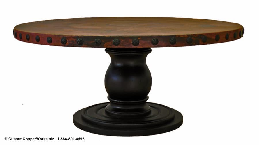 """Rustic Copper Round Dining Table – 70"""" diameter with 3"""" side drop and 1.75"""" decorative conchas."""