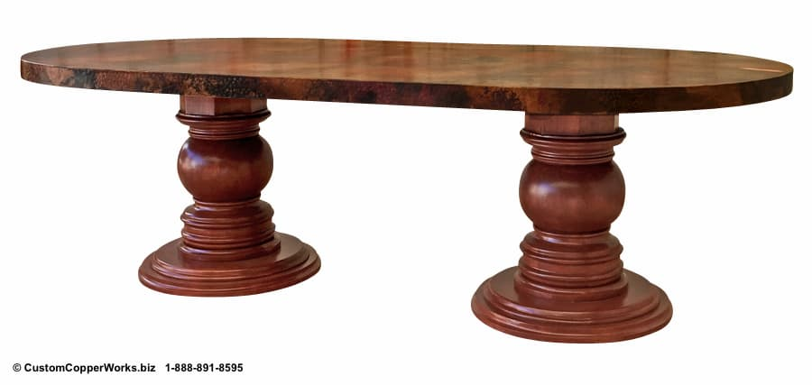 """LARGE, OVAL, COPPER TOP DINING TABLE: Hammered Copper Table Top – 96"""" x 48"""" x 2.5"""" — mounted on Samma Double Pedestal Wood Table Base."""