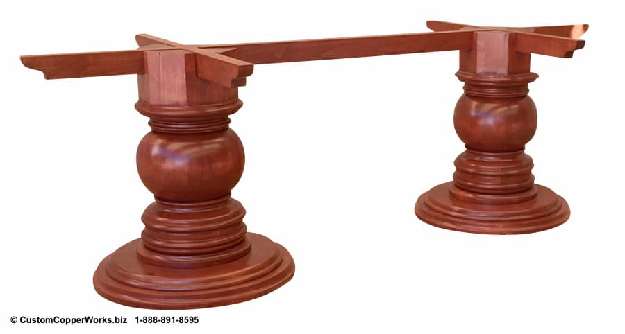 """LARGE, OVAL, COPPER TOP DINING TABLE: Hammered Copper Table Top – 96"""" x 48"""" x 2.5"""" — mounted on Samma Double Pedestal Wood Table Base - 1"""