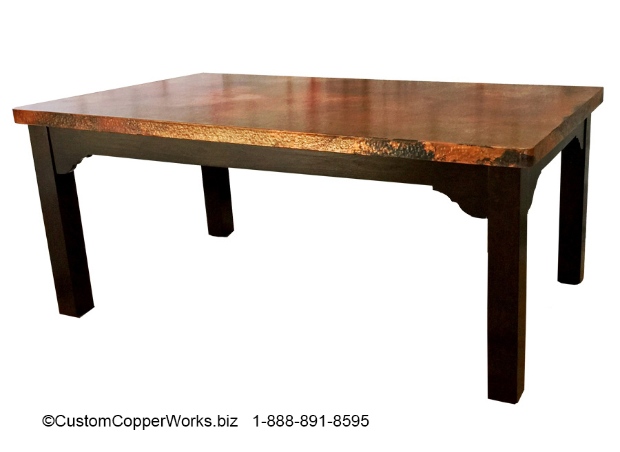 """FARMHOUSE, COPPER TOP DINING TABLE: Rectangle Copper Top Table — 72″L x 42″W x 2H"""" with 2″ side drop — mounted on Farmhouse Wood Table Base 3"""
