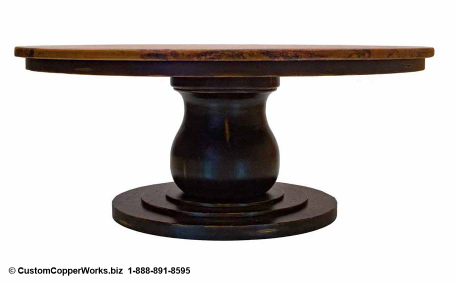 COPPER TOP ROUND DINING TABLE: Copper Table Top – 72 x 72 x 1.5 inches — overlaid on rustic, wood apron pedestal table base.
