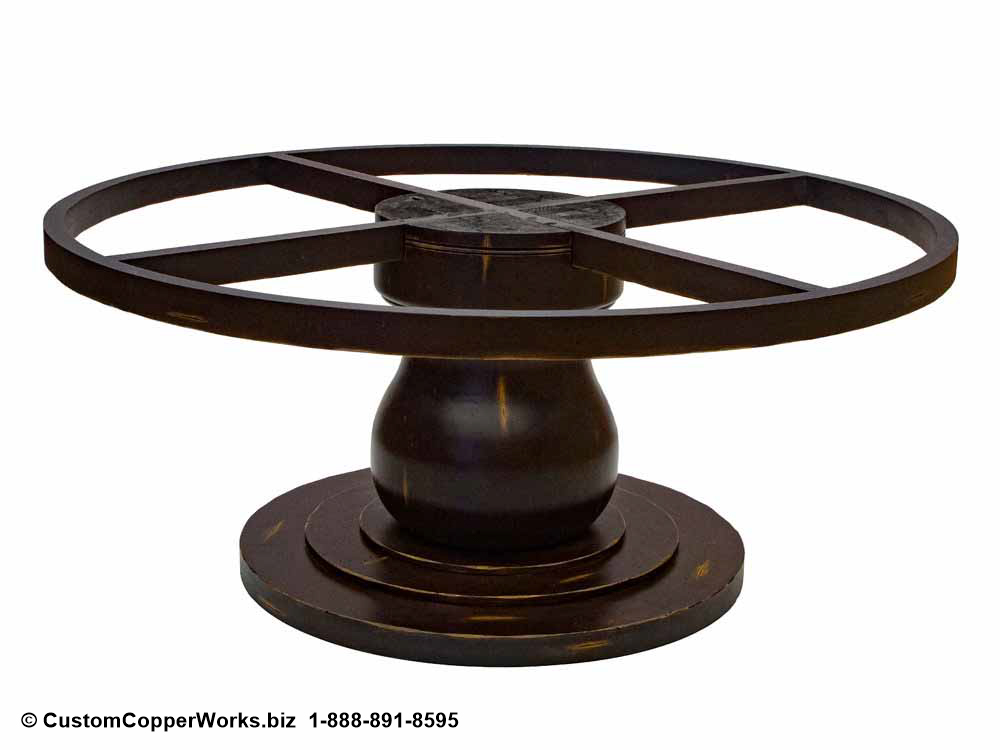 COPPER TOP ROUND DINING TABLE: Copper Table Top – 72 x 72 x 1.5 inches — overlaid on rustic, wood apron pedestal table base-3