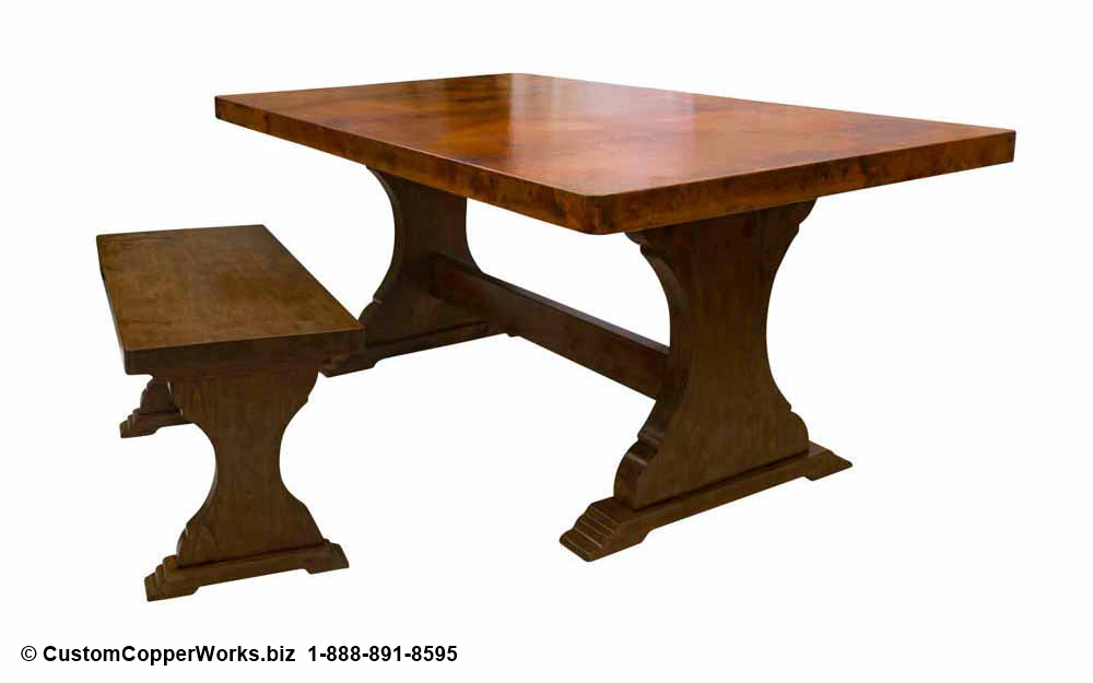 COPPER TOP RECTANGLE DINING TABLE: Copper Table Top – 72 x 42 x 2.5 inches — wood, Country Rustic trestle table base with matching bench.