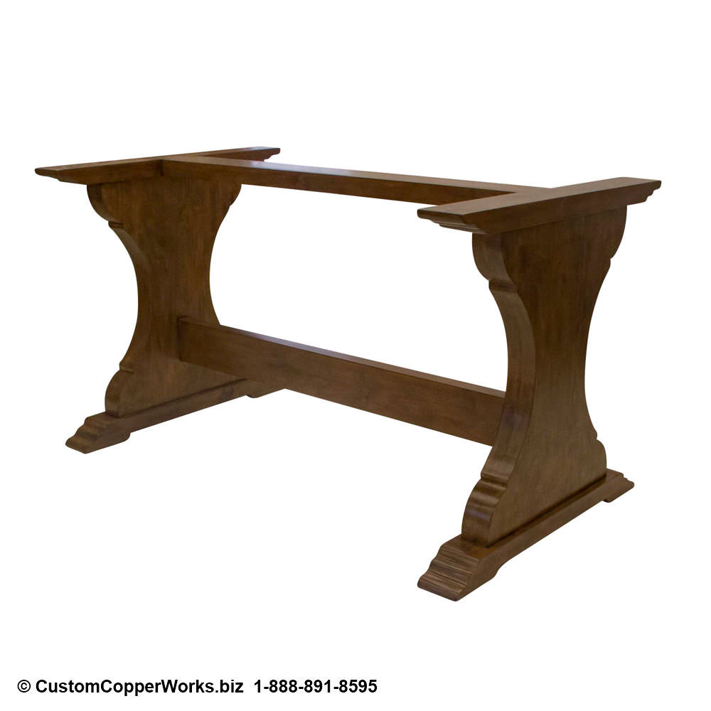 COPPER TOP RECTANGLE DINING TABLE: Copper Table Top – 72 x 42 x 2.5 inches — wood, Country Rustic trestle table base with matching bench-2