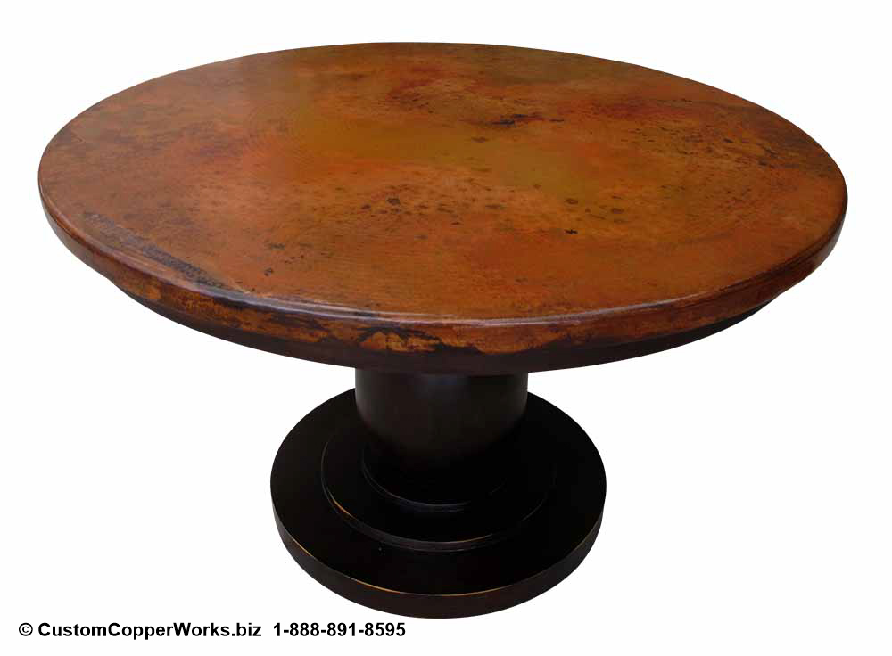 "Copper Top Dining Table - 48"" x 48"" x 1.5"" mounted on the Anna Single Pedestal Table Base with Attached Wood Apron-4"