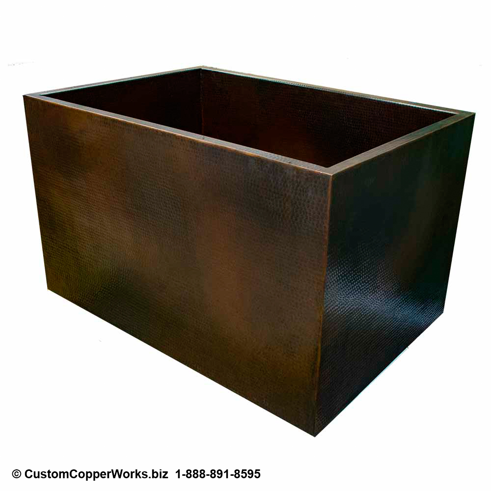 "Copper Double-wall, Free Standing Soaking Tub - 46"" x 32"" x 28"" Rectangle with Removable Second Bench. Click on image for larger view. CCW Design #117."