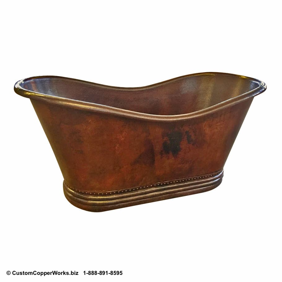 """FREE STANDING, COPPER SOAKING TUB: Hand-hammered, Mexican Copper Double Slipper Tub - 70"""" x 33"""" x 33"""". Click on image for larger view. CCW Design #96"""
