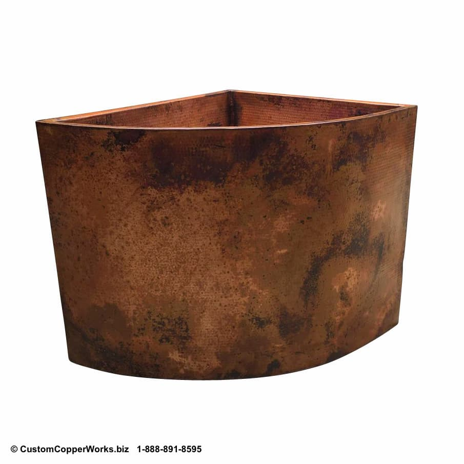 """Double-wall, Copper Soaking Tub - 42"""" x 36"""" x 34"""". click on image for larger view. CCW Design #26."""