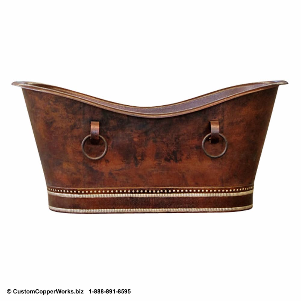 """FREE STANDING, COPPER SOAKING TUB: Hand-hammered, Mexican Copper Double Slipper Tub — 72"""" x 35"""" x 33"""" — Hand-embossing. Click on image for larger view. CCW Design #78."""