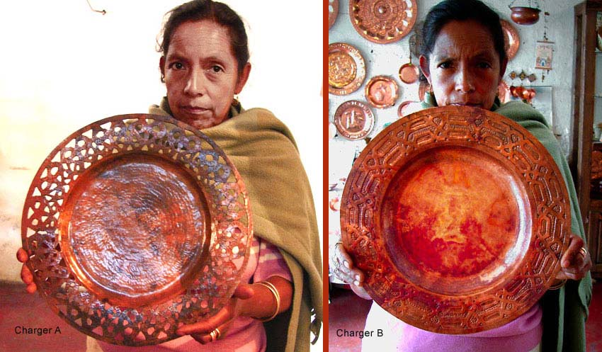 Santa Clara del Cobre hand-crafted, hammered COPPER CHARGERS by Roberto Castro Hernandes.